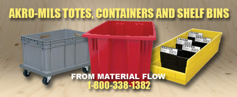 Akro-Mils totes, containers, and shelf bins from Material Flow