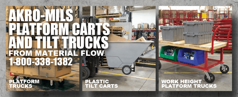 Akro-Mils platform carts and tilt trucks from Material Flow