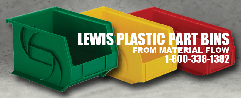Lewis plastic part bins from Material Flow