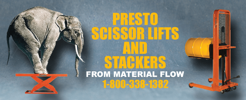 Presto scissor lifts and stackers from Material Flow