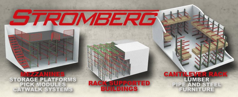 Stromberg mezzanines, rack supported buildings and cantilever rack from Material Flow