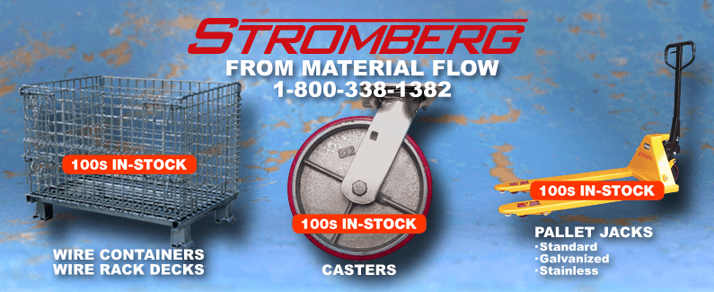 Stromberg wire containers, casters and pallet jacks from Material Flow
