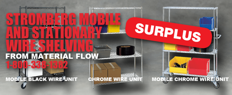 Stromberg mobile and stationary wire shelving from Material Flow