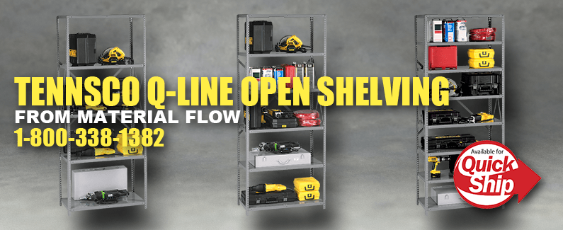 Tennsco Q-Line open shelving from Material Flow